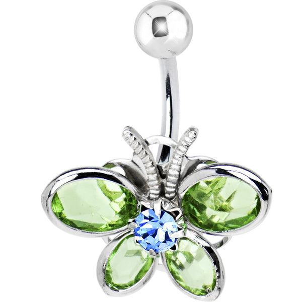 Solar Blue Gem JADE GREEN Stained Glass Butterfly Belly Ring