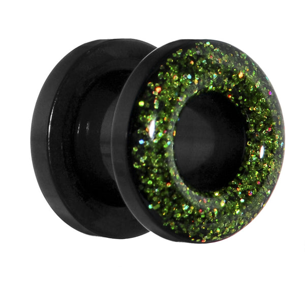 0 Guage Acrylic Green Glitter Screw Fit Tunnel