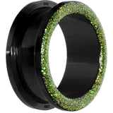 "1"" Acrylic Green Glitter Screw Fit Tunnel"