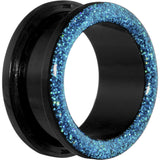 7/8 Acrylic Aqua Glitter Screw Fit Tunnel