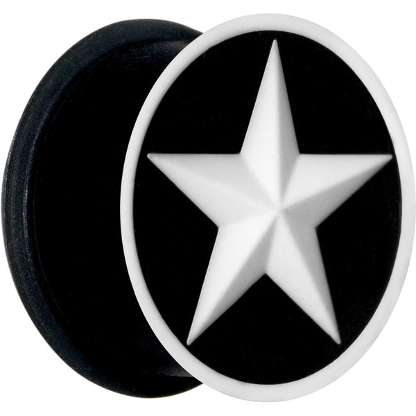 3/4 Black White Star Silicone Plug