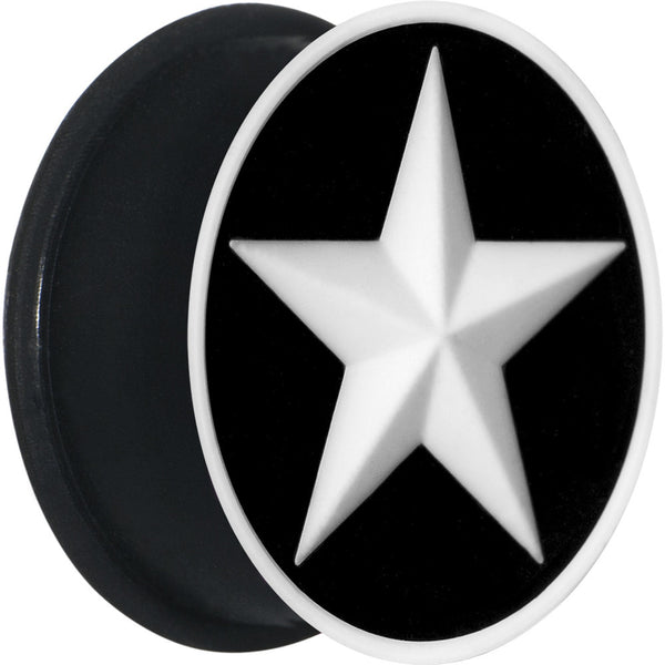 7/8 Black White Star Silicone Plug
