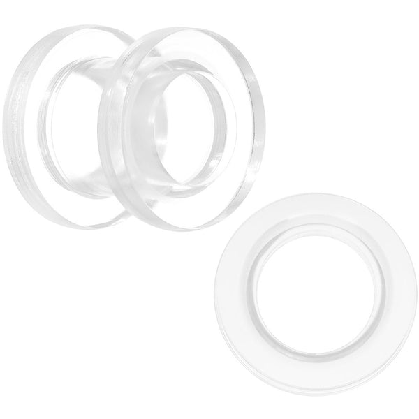 0 Gauge Clear Acrylic Screw Fit Tunnel Plug Set