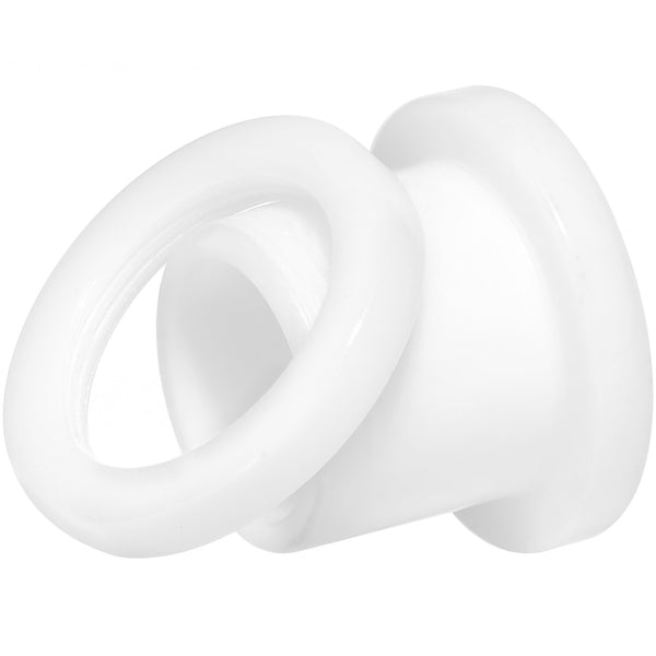 00 Gauge White Acrylic Screw Fit Tunnel Plug Set