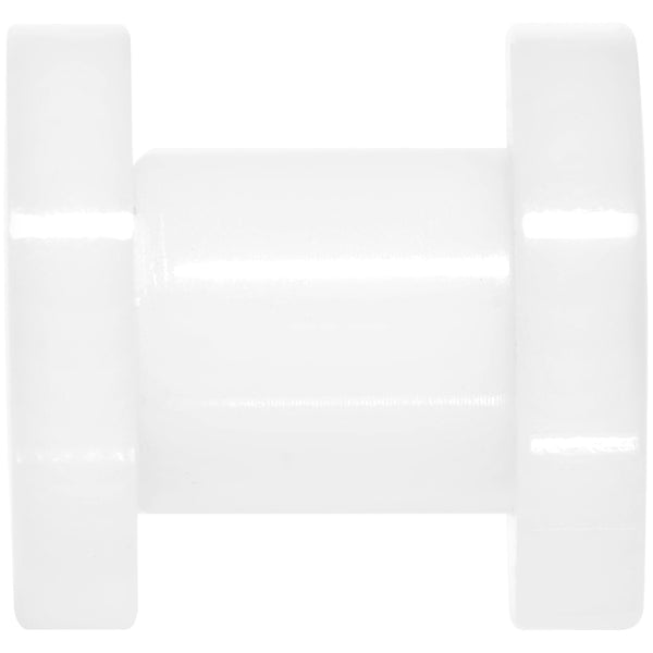 2 Gauge White Acrylic Screw Fit Tunnel Plug Set