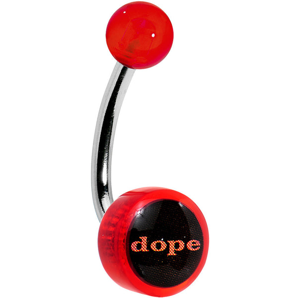 Red Acrylic DOPE Logo Belly Button Ring
