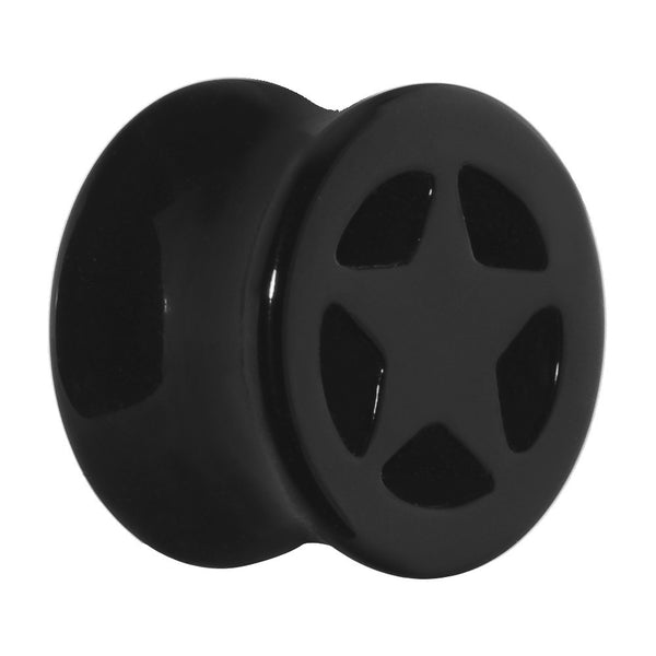 9/16 Acrylic Black Star Tunnel Plug