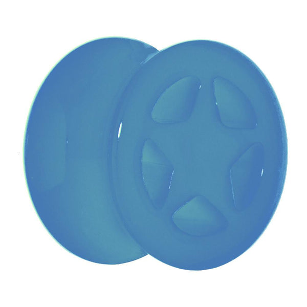 Acrylic Neon Blue Star Tunnel Plug 2 Gauge to 20mm