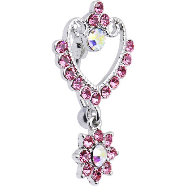Pink Gem Top Mount Floral Reflections Belly Ring