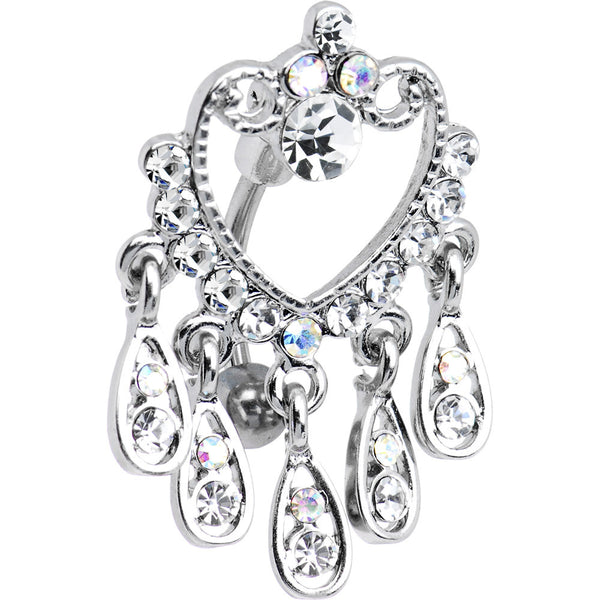 Crystalline Gem Top Mount Heart Chandelier Belly Ring