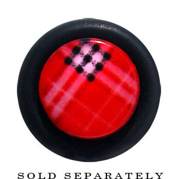 0 Gauge Red Plaid Fake Taper Ear Plug