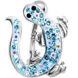Aqua Cubic Zirconia IZZY LIZZY Curvaceous Belly Ring