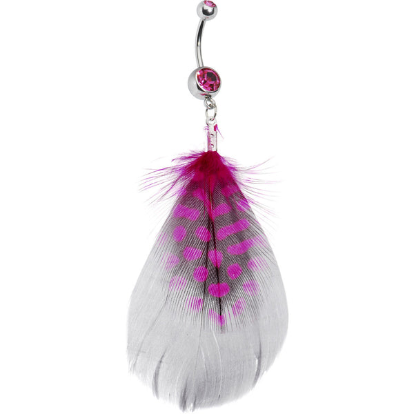 Pink Passionate Polka Dot Feather Belly Ring