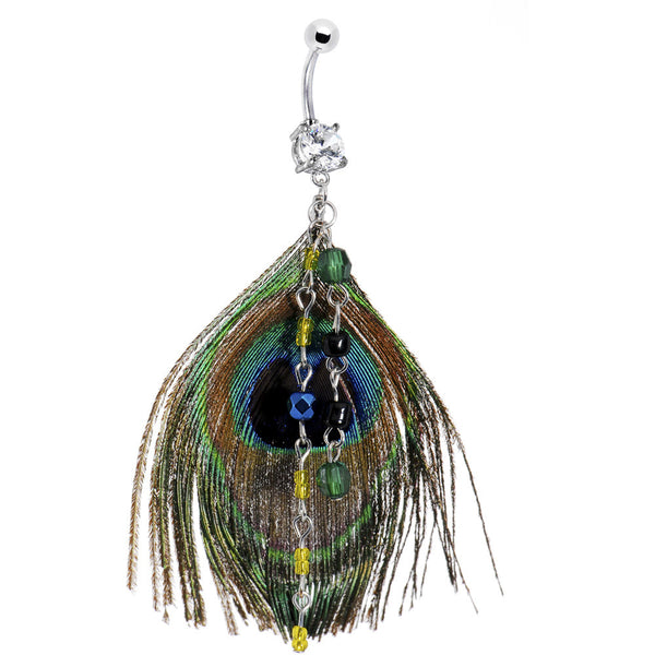 Chic Chain Dangle Peacock Feather Belly Ring