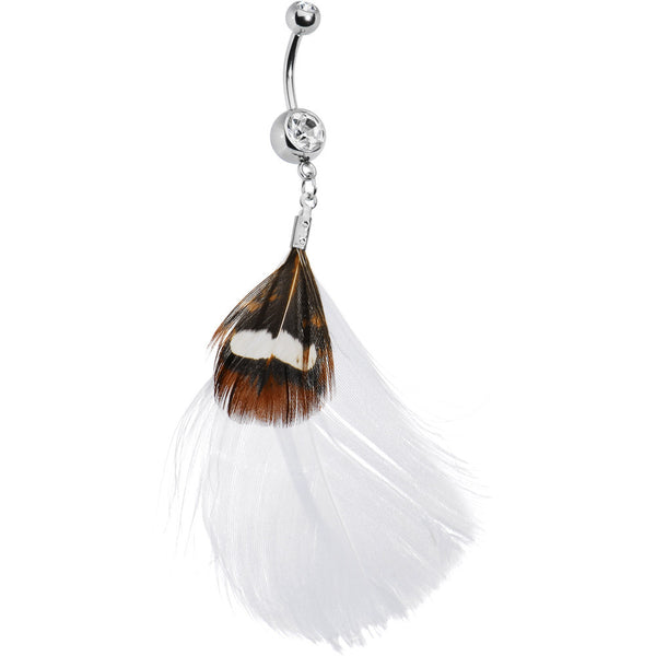 Whimsical in White Feather Belly Ring