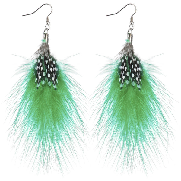 Green White Polka Dot Feather Earrings
