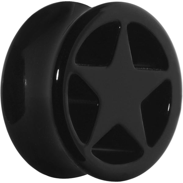 20mm Acrylic Black Star Tunnel Plug