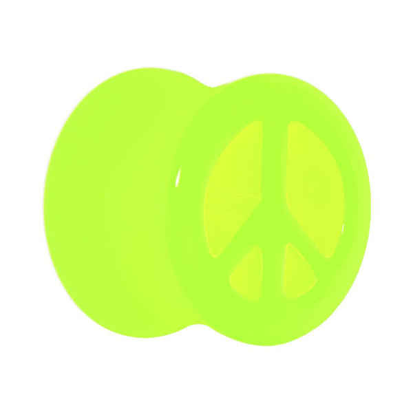 Acrylic Neon Green Peace Sign Tunnel Plug 2 Gauge to 20mm