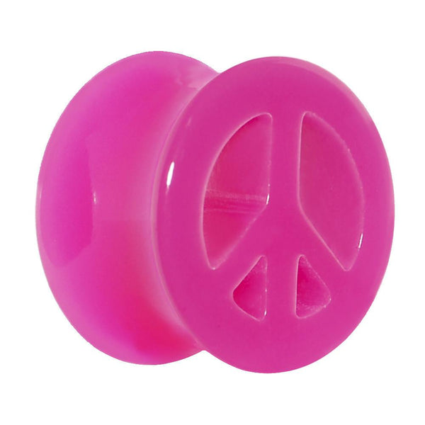 Acrylic Neon Pink Peace Sign Tunnel Plug 2 Gauge to 20mm