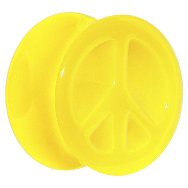 Acrylic Neon Yellow Peace Sign Tunnel Plug 2 Gauge to 20mm