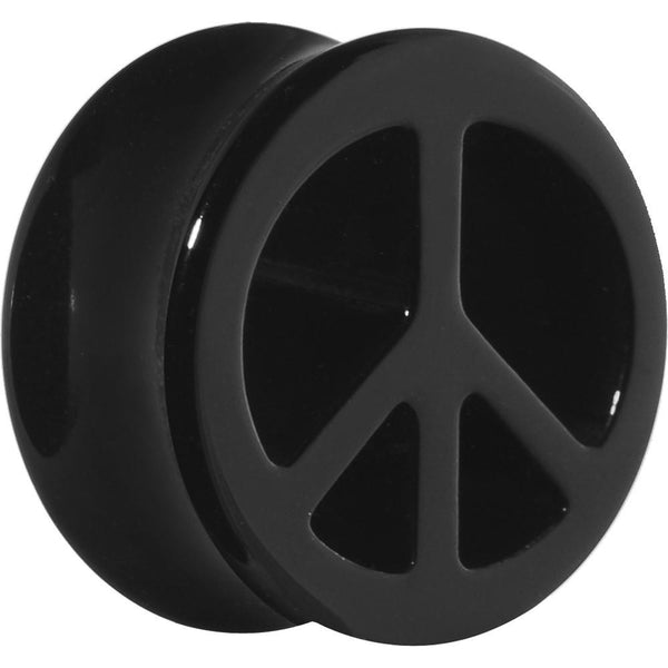 Acrylic Black Peace Sign Tunnel Plug 2 Gauge to 20mm