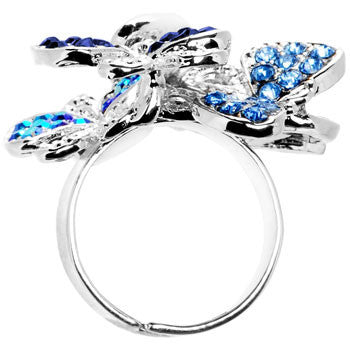 Beautiful Jeweled Cluster Butterfly Adjustable Ring