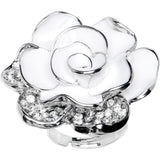 White Jeweled Bloom Flower Adjustable Ring