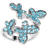 Aqua Jeweled Cluster Butterfly Adjustable Ring