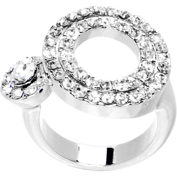 Clear Jeweled Circular Adjustable Ring