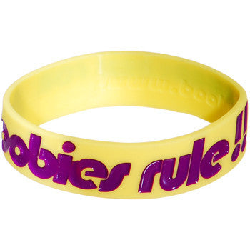 Yellow Purple Boobies Rule Awareness for Breast Cancer Bracelet