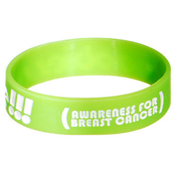 Lime Green White Boobies Rule Awareness for Breast Cancer Bracelet