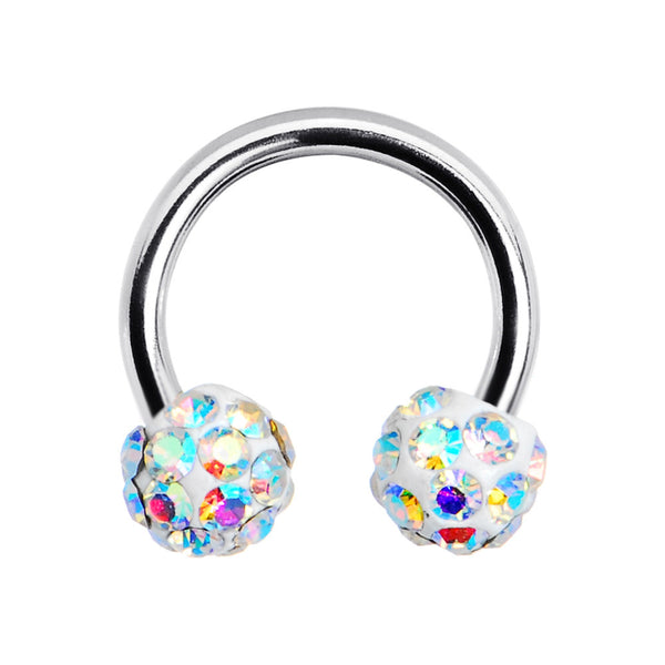 16 Gauge Aurora Crystal Ferido Ball Horseshoe Circular Barbell