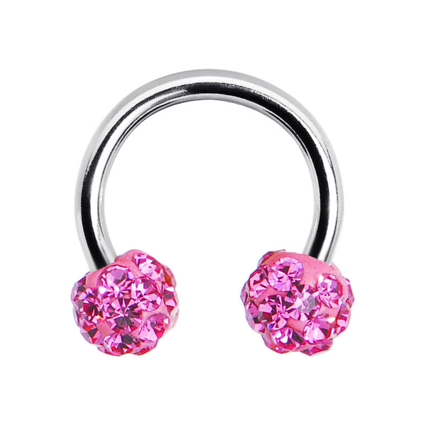 16 Gauge Pink Crystal Ferido Ball Horseshoe Circular Barbell