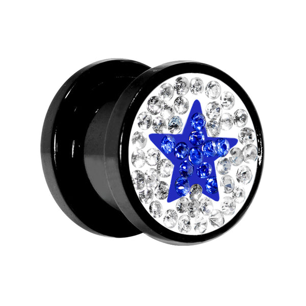 00 Gauge Blue Star Ferido Crystal Acrylic Screw Fit Tunnel