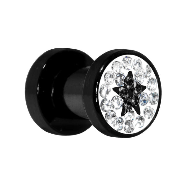 4 Gauge Black Star Ferido Crystal Acrylic Screw Fit Tunnel