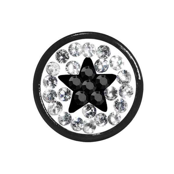 2 Gauge Black Star Ferido Crystal Acrylic Screw Fit Tunnel