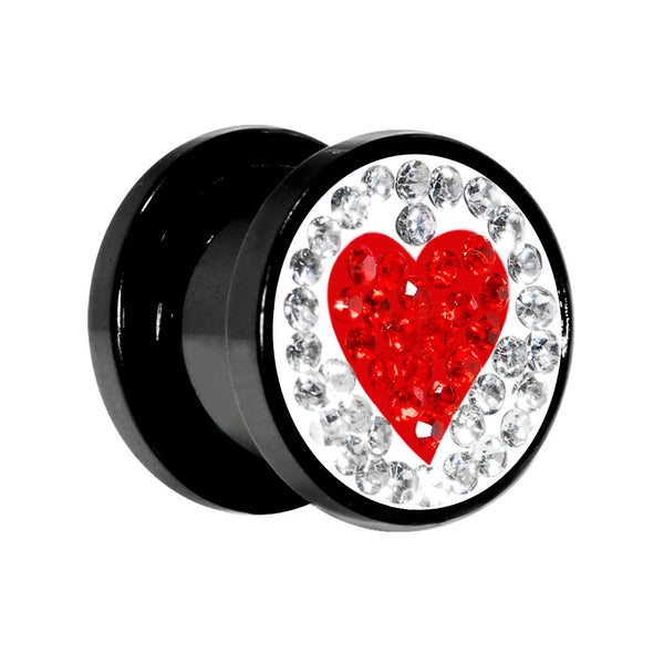 00 Gauge Red Heart Ferido Crystal Acrylic Screw Fit Tunnel