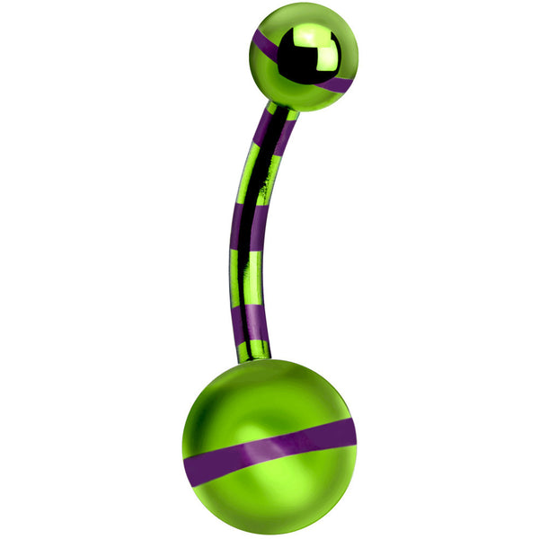 Green Purple Striped Titanium Belly Ring