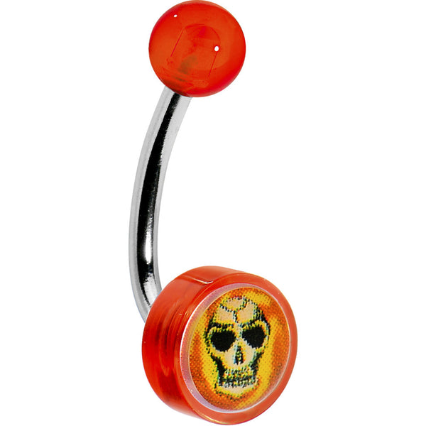 Red Acrylic FLAMING SKULL Logo Belly Button Ring
