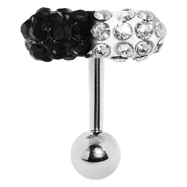 Clear Black Crystal Pill Eyebrow Ring