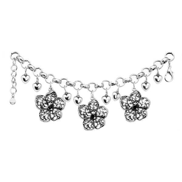 Lovely Hearts and Flowers Charm Bracelet