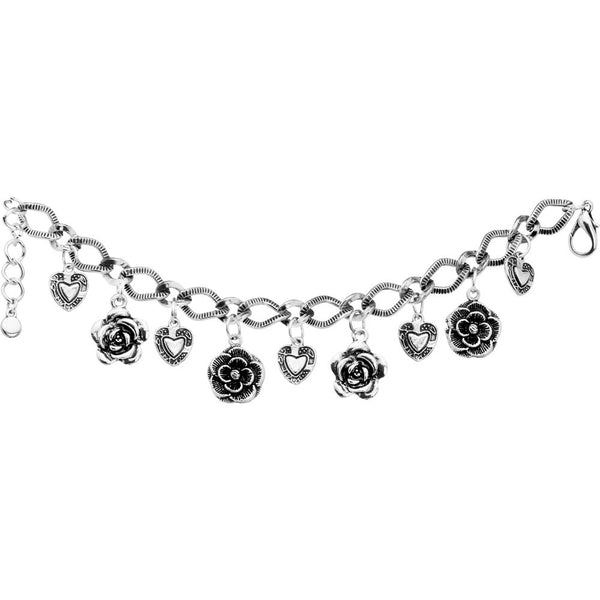 Hearts Roses and Flowers Charm Bracelet