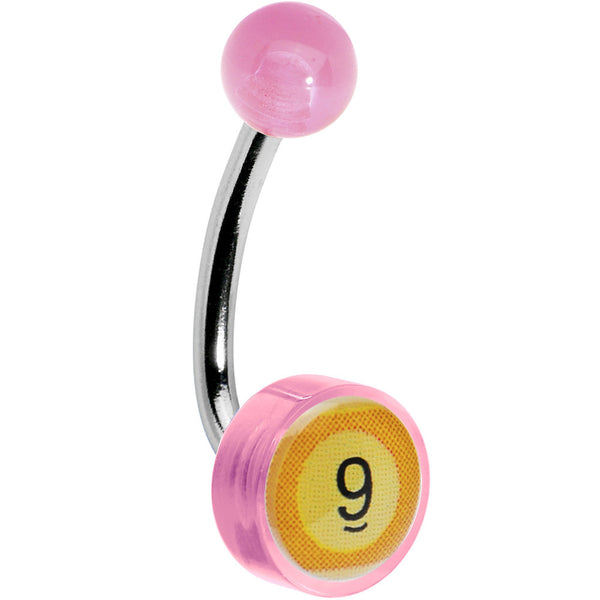 Pink Acrylic 9 BALL Logo Belly Button Ring