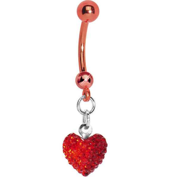 Red Titanium Crystal Sparkler Heart Belly Ring