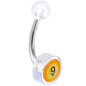 Clear Acrylic 9 BALL Logo Belly Button Ring