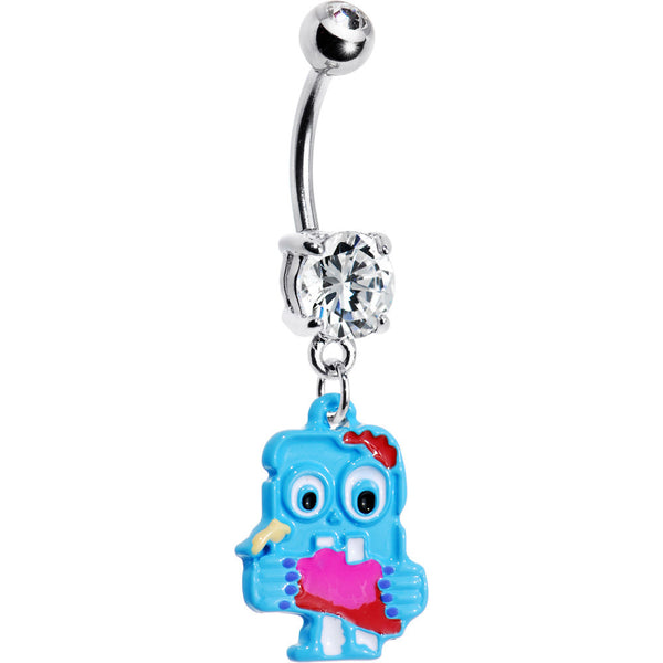 Brain Eating Blue Monster Belly Ring