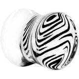 00 Gauge White Zebra Acrylic Saddle Plug