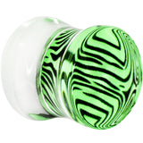 00 Gauge Green Zebra Acrylic Saddle Plug