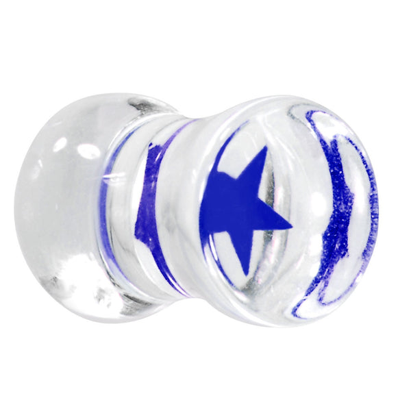 2 Gauge Stellar Blue Star Inlay Acrylic Saddle Plug