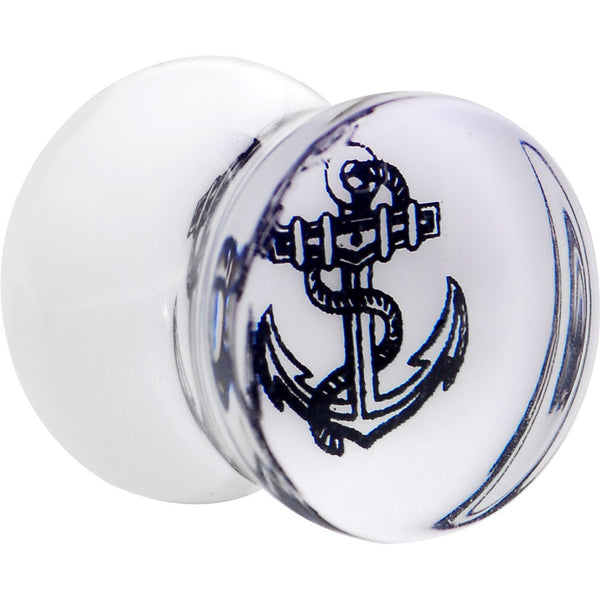 1/2 Anchor Tattoo Acrylic Saddle Plug